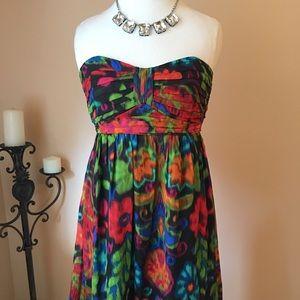 Shoshanna Bright Floral Strapless Mini Dress Sz 8